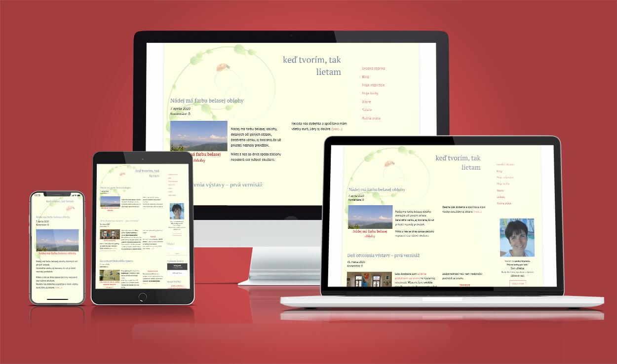 Ukážka webstránky - osobného blogu.